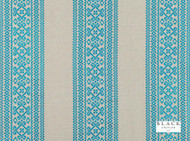 Black Edition - Safi Moroccan Blue  | Curtain Fabric - Blue, Eclectic, Fibre Blends, Geometric, Linen and Linen Look, Stripe, Domestic Use, Embroidery, Standard Width