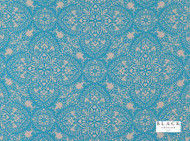 Black Edition  - Byzantine Moroccan Blue  | Curtain & Upholstery fabric - Deco, Decorative, Eclectic, Fiber blend, Turquoise, Teal, Decorative Weave, Domestic Use, Lattice, Trellis