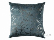 Black Edition  - Marmori 50cm Cushion Teal  | - Black, Blue, Metallic, Contemporary, Velvet, Abstract, Cushion-Covers, Domestic Use, Metal