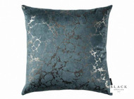 Black Edition  - Marmori 50cm Cushion Teal  | - Blue, Metallic, Contemporary, Velvet, Abstract, Cushion-Covers, Domestic Use, Metal