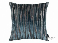 Black Edition  - Zkara 50cm Cushion Teal  | - Black, Blue, Metallic, Contemporary, Geometric, Velvet, Cushion-Covers, Domestic Use, Metal