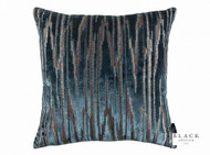 Black Edition - Zkara 50cm Cushion Teal  | - Blue, Metallic, Contemporary, Geometric, Velvet/Faux Velvet, Domestic Use, Metal, Standard Width