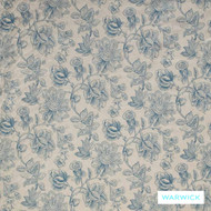 Warwick Mandalay Turquoise  | Curtain & Upholstery fabric - Blue, Farmhouse, Floral, Garden, Natural Fibre, Traditional, Washable, Domestic Use, Natural, Standard Width