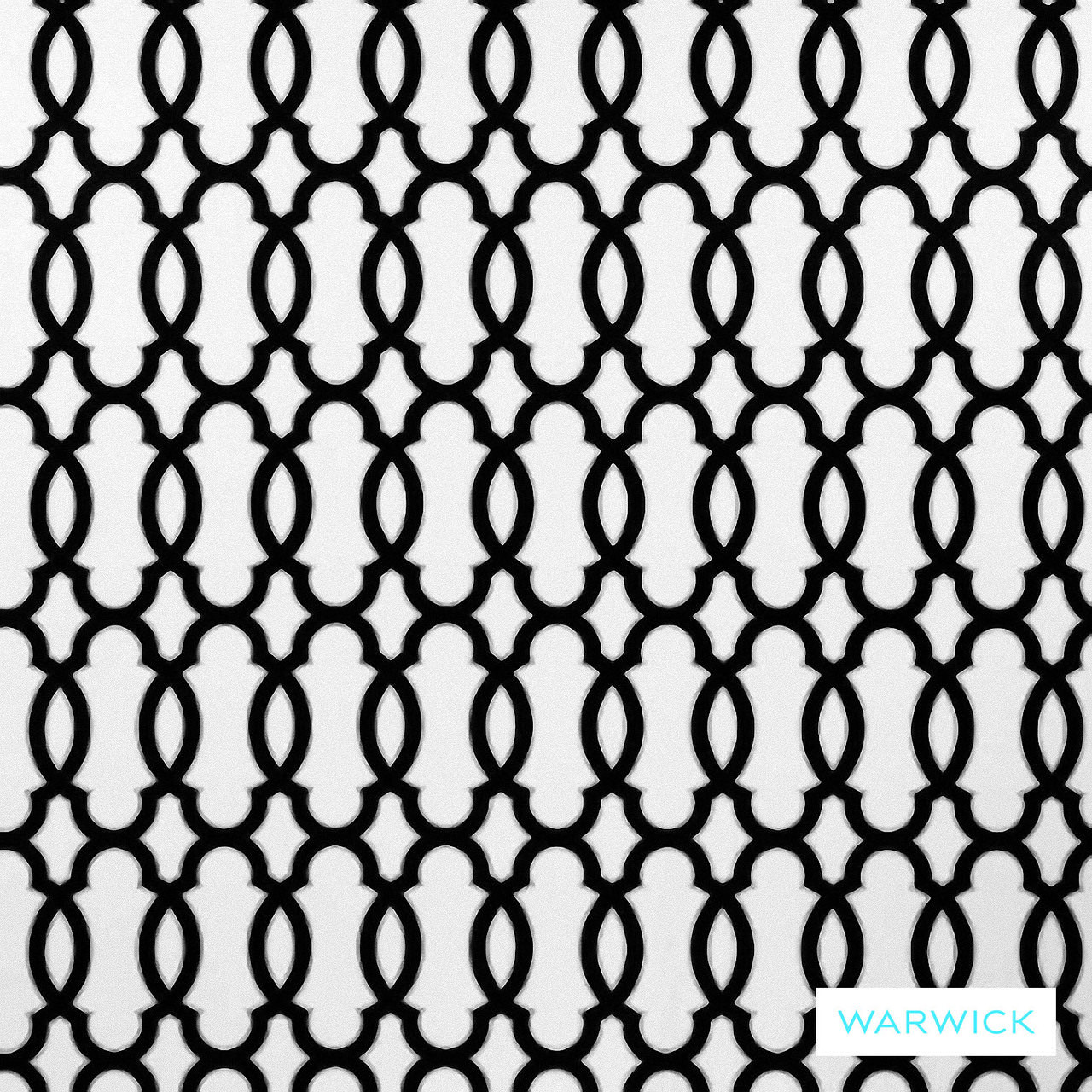 Warwick Monochrome Gracia Platinum  | Curtain Fabric - Australian Made, Grey, Black - Charcoal, Contemporary, Geometric, Mediterranean, Moroccan, Quatrefoil, Synthetic, Traditional, Washable