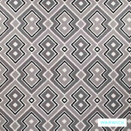 Warwick Monochrome Lennon Platinum  | Curtain Fabric - Australian Made, Grey, Black - Charcoal, Contemporary, Kilim, Mediterranean, Synthetic, Transitional, Washable, Halo