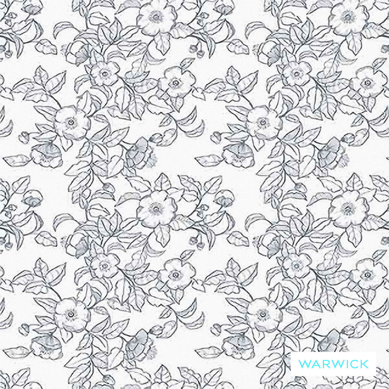 Warwick Montana (Pnm) Denim  | Curtain & Upholstery fabric - Australian Made, Blue, Floral, Garden, Synthetic fibre, Transitional, Washable, Commercial Use, Halo