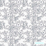 Warwick Montana (Pnm) Denim  | Curtain & Upholstery fabric - Australian Made, Blue, Floral, Garden, Synthetic, Transitional, Washable, Commercial Use, Halo