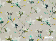 Rom_7711/05 'Jade' | Curtain & Upholstery fabric - Blue, Green, Grey, Farmhouse, Floral, Garden, Natural fibre, Domestic Use, Natural, Print