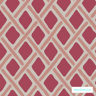 Warwick Montana Stamford (Pnm) Crimson  | Curtain & Upholstery fabric - Australian Made, Geometric, Pink, Purple, Synthetic, Traditional, Washable, Commercial Use, Diamond - Harlequin, Halo