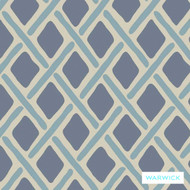 Warwick Montana Stamford (Pnm) Denim  | Curtain & Upholstery fabric - Australian Made, Blue, Geometric, Synthetic, Traditional, Washable, Commercial Use, Diamond - Harlequin, Halo