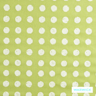 Warwick Playtime Dotty Apple  | Curtain Fabric - White, Foulard, Geometric, Kids, Children, Midcentury, Natural Fibre, Small Scale, Washable, Domestic Use, Dots, Spots