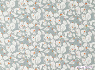 Villa Nova - Langley Clementine  | Curtain & Upholstery fabric - Grey, Farmhouse, Floral, Garden, Natural Fibre, Domestic Use, Natural, Print, Standard Width
