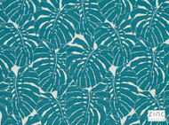 Zinc Textile - Bois Jolan Lagoon  | Upholstery Fabric - Blue, Plain, Contemporary, Floral, Garden, Outdoor Use, Synthetic, Turquoise, Teal, Abstract, Commercial Use