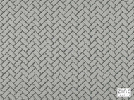 Zinc Textile - Fontaine Storm  | Curtain & Upholstery fabric - Grey, Deco, Decorative, Fibre Blends, Geometric, Silk, Small Scale, Chevron, Zig Zag, Decorative Weave
