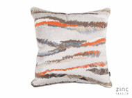 Zinc Textile - Heavens Break Cushion - Linen  | Cusion Fabric - Blue, Brown, Grey, Red, Pink, Purple, Stripe, Velvet/Faux Velvet, Abstract, Domestic Use, Embroidery
