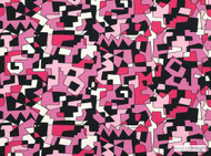 Kirkby Design - NeoGeo Cherryade  | Upholstery Fabric - Black, Contemporary, Eclectic, Natural fibre, Black - Charcoal, Pink - Purple, Domestic Use, Natural