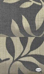 Wilson - Yvette Ii & Riley II - Leaf Charcoal  | Curtain Fabric - Black - Charcoal, Fibre Blends, Floral, Garden