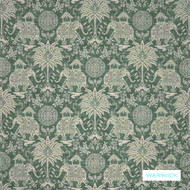Warwick - Maharaja Emerald  | Upholstery Fabric - Green, Grey, Floral, Garden, Traditional, Animals, Animals - Fauna, Domestic Use, Railroaded, Standard Width