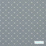 Warwick - Whitby Slate  | Upholstery Fabric - Australian Made, Blue, Quatrefoil, Traditional, Domestic Use, Lattice, Trellis, Railroaded