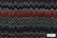 Marco Fabrics - Ziggy Reef  | Curtain & Upholstery fabric - Blue, Red, Black - Charcoal, Mediterranean, Moroccan, Pattern, Chevron, Zig Zag, Domestic Use, Railroaded