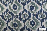 Elliott Clarke - Stonefields - Agean Sea  | Curtain & Upholstery fabric - Blue, Ikat, Mediterranean, Outdoor Use, Pattern, Synthetic, Domestic Use, Dry Clean, Watercolour
