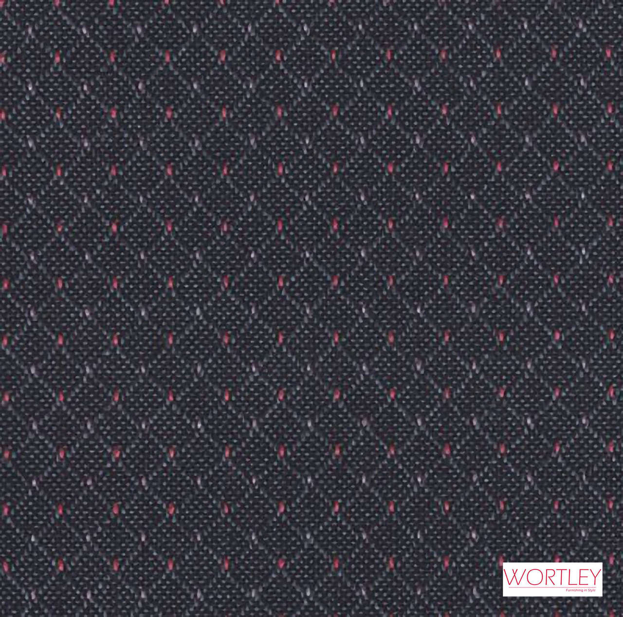 Wortley Group Hathaway Charcoal  | Upholstery Fabric - Grey, Black - Charcoal, Diaper, Foulard, Pattern, Pink, Purple, Small Scale, Synthetic, Commercial Use, Standard Width