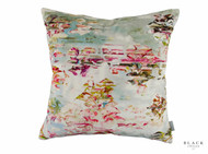 Black Edition - Pleasure Gardens Velvet Cushion  | - Green, Floral, Garden, Pink, Purple, Chinoise, Cushion-Covers, Domestic Use, Dry Clean, Print