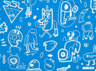 Kirkby Design - New York Scrawl Pool  | Upholstery Fabric - Blue, Kids, Children, Natural Fibre, Commercial Use, Dry Clean, Figurative, Natural, Standard Width, Tossed