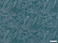 Mark Alexander - Botani Peacock  | Curtain & Upholstery fabric - Blue, Floral, Garden, Natural Fibre, Domestic Use, Dry Clean, Natural, Print, Standard Width