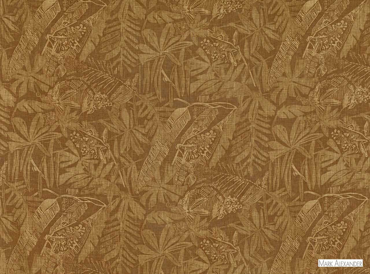 Mark Alexander - Botani Henna  | Curtain & Upholstery fabric - Brown, Floral, Garden, Natural Fibre, Domestic Use, Dry Clean, Natural, Print, Standard Width