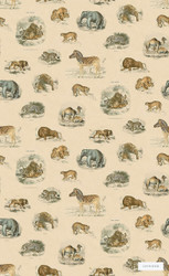 LINW791 'Creatures' | - Grey, Midcentury, Kids, Children, Tan - Taupe, Animals, Domestic Use, Animals - Fauna