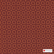 CRYP410 'Orange' | Upholstery Fabric - Terracotta, Diaper, Foulard, Midcentury, Small Scale, Synthetic fibre, Commercial Use