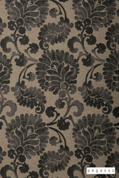 peg_12068-104 'Midnight' | Curtain Fabric - Black, Craftsman, Damask, Deco, Decorative, Eclectic, Floral, Garden, Natural fibre, Paisley, Traditional, Black - Charcoal