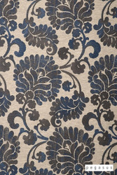 Pegasus Latvia - Royal  | Curtain Fabric - Blue, Craftsman, Damask, Deco, Decorative, Eclectic, Floral, Garden, Natural fibre, Paisley, Traditional, Washable, Domestic Use, Dry Clean, Natural