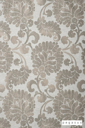 peg_12068-107 'Silver' | Curtain Fabric - Silver, Damask, Deco, Decorative, Eclectic, Natural fibre, Paisley, Traditional, Domestic Use, Natural