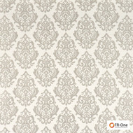 FR-One Fabrics - Palmieri FR Greige  | Curtain & Upholstery fabric - Fire Retardant, Grey, Damask, Synthetic, Commercial Use, Oeko-Tex, Oeko-Tex, Standard Width
