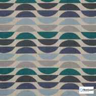 FibreGuard - Ocean Drive Forest  | Upholstery Fabric - Blue, Geometric, Midcentury, Stripe, Synthetic, Commercial Use, Standard Width