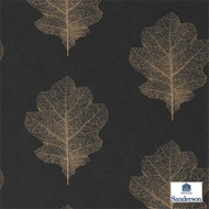 215700 'Oak' | - Black, Fire Retardant, Floral, Garden, Midcentury, Black - Charcoal, Domestic Use