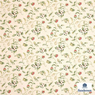 DAPGOR203 'DAPGOR203' | Curtain & Upholstery fabric - Fire Retardant, Green, White, Craftsman, Farmhouse, Floral, Garden, Natural fibre, Many-Coloured, White, Domestic Use