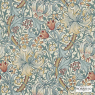 Morris and Co -  Golden Lily 210401  | Wallpaper, Wallcovering - Blue, Fire Retardant, Art Noveau, Craftsman, Floral, Garden, Tropical, Many-Coloured, Domestic Use