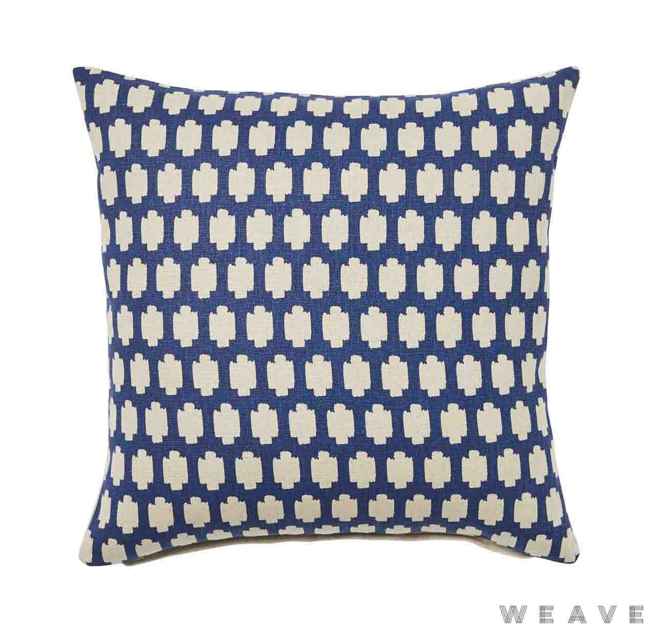Weave - Madi Cushion - Pigment (Pack of 2)  | Cusion Fabric - Blue, Quatrefoil, Weave, Crosses