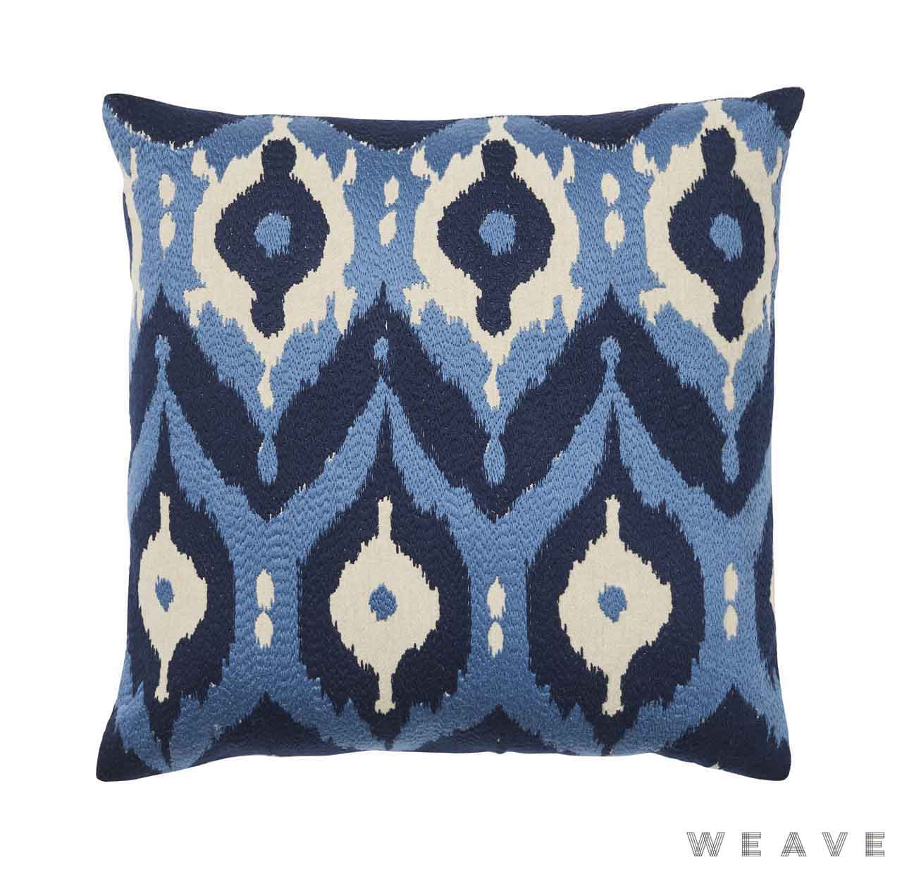 Weave - Nishiki Cushion - Pigment (Pack of 2)  | Cusion Fabric - Blue, Ikat, Mediterranean, Weave