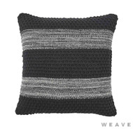 Weave - Devonport Cushion - Tar (Pack of 2)  | Cusion Fabric - Black - Charcoal, Stripe, Weave