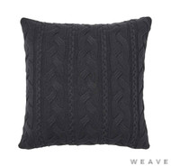 Weave - Miramar Cushion - Tar (Pack of 2)  | Cusion Fabric - Black - Charcoal, Stripe, Weave