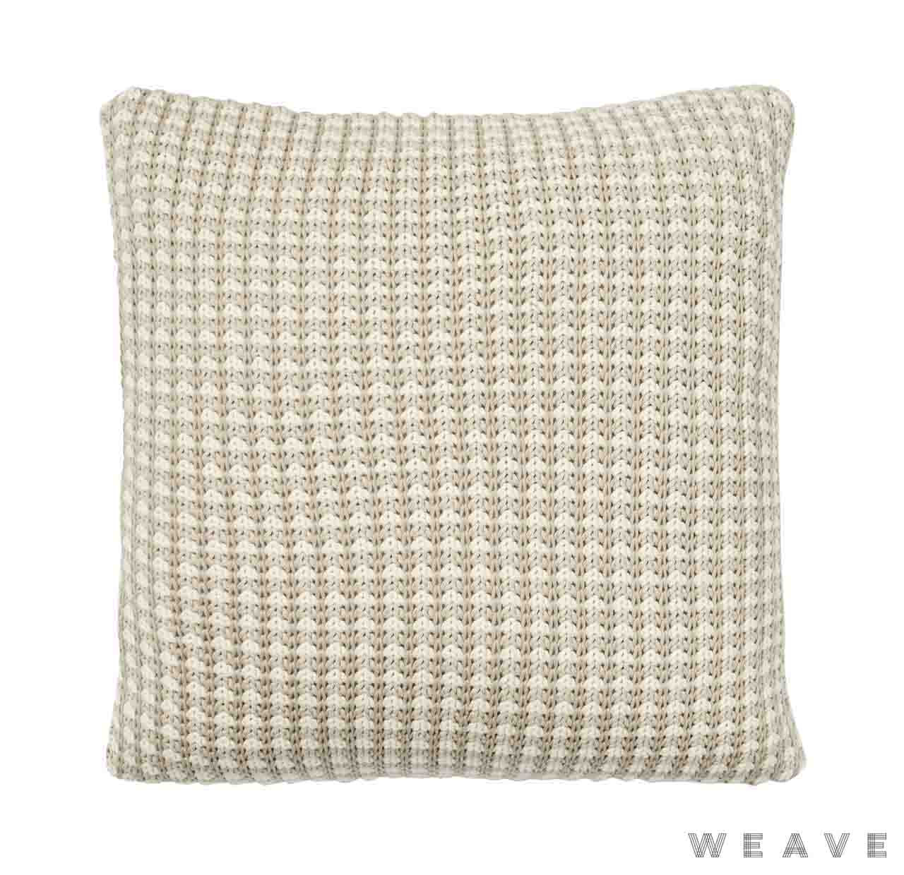 Weave - Sausalito Cushion - Sandstorm (Pack of 2)  | Cusion Fabric - Beige, Geometric, Weave