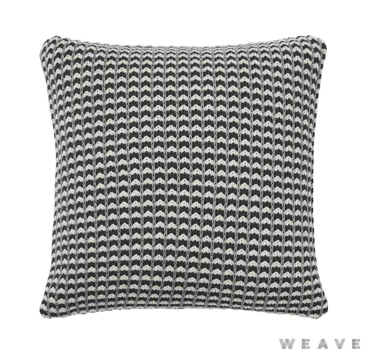Weave - Sausalito Cushion - Tar (Pack of 2)  | Cusion Fabric - Grey, Black - Charcoal, Geometric, Multi-Coloured, Weave