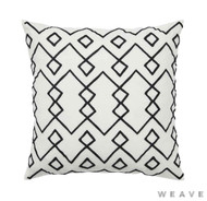 Weave - Malawi Cushion - Tar (Pack of 2)  | Cusion Fabric - White, Black - Charcoal, Weave, Diamond - Harlequin, White