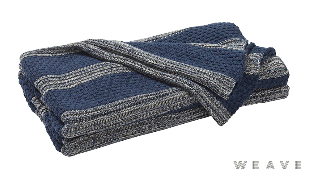 Weave - Devonport Throw - Pigment  | Throw Fabric - Blue, Stripe, Weave