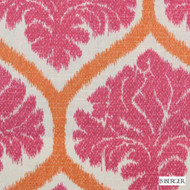 B. Berger - 72078-4 - Pink  | Curtain & Upholstery fabric - Silver, Medallion, Natural Fibre, Ogee, Pink, Purple, Dry Clean, Natural, Print, Standard Width