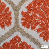 B. Berger - 72078-30 - Natural/Russett  | Curtain & Upholstery fabric - Burgundy, Red, Silver, Medallion, Natural Fibre, Ogee, Dry Clean, Natural, Print, Standard Width
